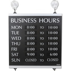 Headline Sign Century Series Business Hours Sign, 13 x 14, Black