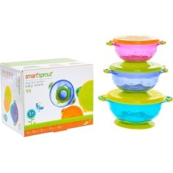 Baby Suction Bowls- Set of 3 FDA Approved Baby Bowls w/ Snap Tight Lid