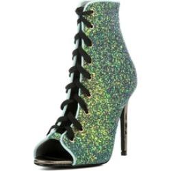 Women's Ankle High Peep Toe Stiletto Heel Lace Up Booties Olga-99
