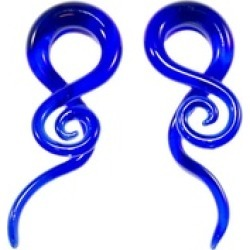 Glass Tapers 6G-00G Single Twist Deep Sea Blue Pyrex - 1Pair