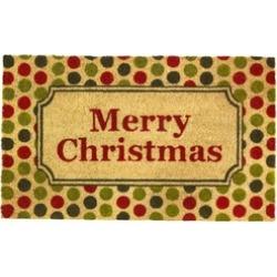 Festive Polka Dots Merry Christmas Welcome Door Mat Indoor Outdoor