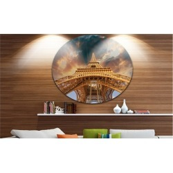 Paris Eiffel Towerin Paris with Sunset Colors' Ultra Glossy Cityscape Circle