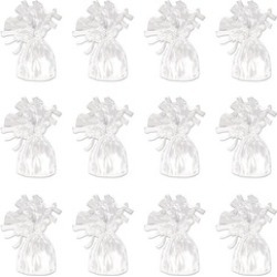 Beistle 50804-W Metallic Wrapped Balloon Weights - White- Pack of 12