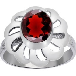Orchid Jewelry 925 Sterling Silver 2 1/3 Carat Garnet Floral Ring