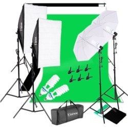 4pcs 85W Umbrellas Soft Light Box plus Photo Studio Background Stand Set