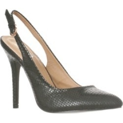 Riverberry 'Lucy' Pointed-Toe Sling Back Pump Heels, Black Snake