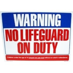 Valterra Products B8701 Blue Devil 18 x 24 In. No Life Guard On Duty Sign
