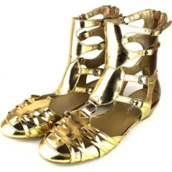 Ankle Wrap Closed Toe Sandals in Gold