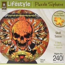 University Games UNV31023 3D Puzzle Sphere-Skull Tattoo