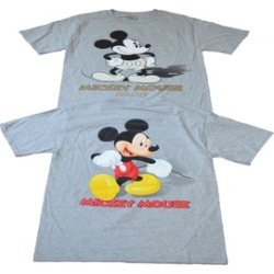 Licensed Mickey Mouse Then and Now 2 Sided Shirt Mens Grey Small 34/36