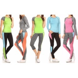 Style Clad Women's Active Color Block Top and Leggings Set (2-Piece)