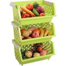 Bath Kitchen Plastic Storage Shelf Baskets Bins Tote Boxes Set of 3