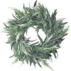 "10"" Artificial Dusty White Decorative Springtime Wispy Lavender Wreath"