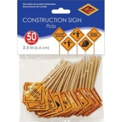 Beistle Construction Signs Picks, 2 1/2-Inch