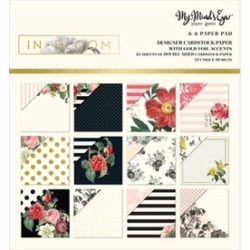 My Minds Eye BLM010 Double Sided Paper Pad In Bloom With Gold Foil - 6 x 6 in.