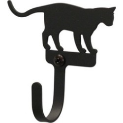 Village Wrought Iron WH-247-S Small Wall Hook - Cat at Play - Black