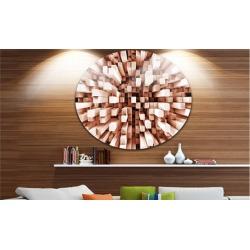 Reflective Checkered Cube' Disc Contemporary Art Print on Circle Metal Wall Art
