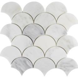 Fish Scale Marble Mosaic Tile Backsplash