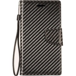 Insten Leather Fabric Case Lanyard w/stand For ZTE Blade Force/Blade X - Black