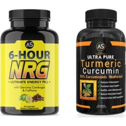 Angry Supplements 6-Hour Garcinia Energy Pill and Ultra Pure Turmeric Supplements (60-Count Each)