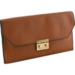 Designer Push Lock Flap Faux Leather Taupe Clutch Wallet for Women