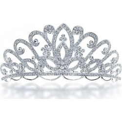 Bling Jewelry Bridal Flower Tiara Headpiece Crystal Rhinestone Gold