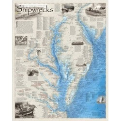 National Geographic Maps RE01020595 Shipwrecks of Delmarva Wall Map