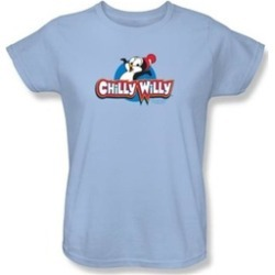Chilly Willy Ladies T-shirt TV Show Willy Logo Light Blue Tee