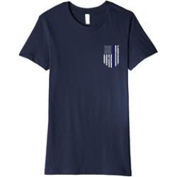 Thin Line Flag T-shirt USA Flag Chest Pocket Tee