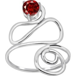 Orchid Jewelry 925 Sterling Silver 2/3 Carat Round Cut Garnet Ring