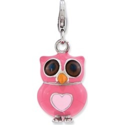 Sterling Silver Rhodium-plated Enameled 3-D Heart Owl Lobster Charm