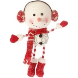 """12"""" Alpine Chic Oversized Snowman with Ear Muffs Christmas Ornament"""