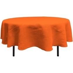LA Linen TCBurlap90R-Orange Round Dyed Natural Burlap Tablecloth Orange - 90 in.