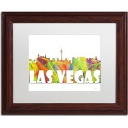 Marlene Watson 'Las Vegas Nevada Skyline Mclr-2' Matted Wood Framed Art