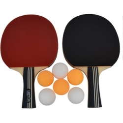 Table Tennis Set, Pack of 2 Premium Paddles Rackets and 6 Ping Pong