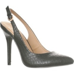 Riverberry 'Lucy' Pointed-Toe Sling Back Pump Heels, Black Croc