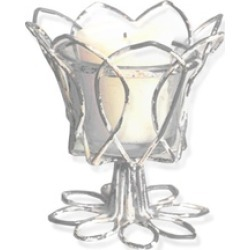 4 Inch Tall Tulip Votive Holder With Glass