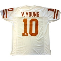 Autographed Vince Young Texas Longhorns White Custom Jersey