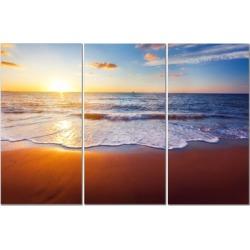 "Split Canvas Art Set 12""x24"" 3 Pieces Peaceful Sunset"
