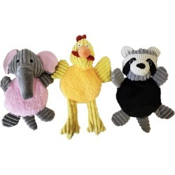 Squeaky Elephant, Chicken, and Raccoon Plush Dog Toys for Pets