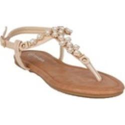 Xehar Women's Ankle Strap T-Strap Summer Beach Pearl Flat Sandal