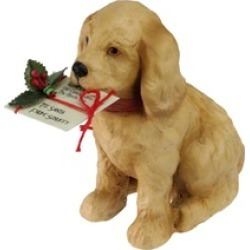 """4"""" Golden Labrador Puppy Note to Santa and Red Bow Christmas D""""cor"""