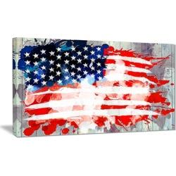 Abstract US Flag - Americana Canvas Art Print