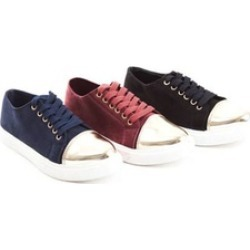 Soho Shoes Women's Suede Lace Up Metallic Toe Cap Sneakers