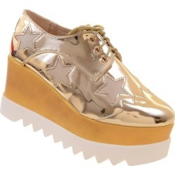 Funky Gold Star Lace Up Vegan Leather Women's Platform Oxford Wedge
