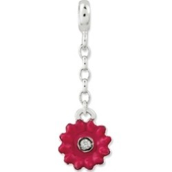 Silver Pink Enamel Flower Synthetic CZ 1/2inch Dangle Enhancer