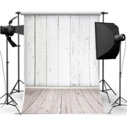 5X7ft Silk White Wood Wall Floor Photography Backdrop Studio Props