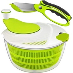 Salad Spinner Dryer Grips Salad Spinner with Vegetable Scissors