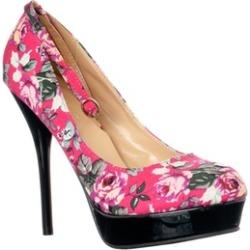 Riverberry 'Flirt-3' Floral Print Ankle Strap Platform Pumps, Fuchsia
