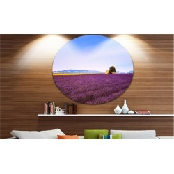 Lavender Flowers with Old House' Oversized Landscape Wall Art Print